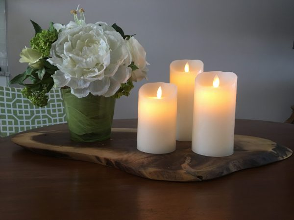 flameless candles, pillars, flickering flame